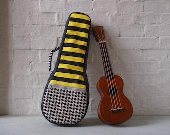 Soprano ukulele case -The yellow stripes. (Ready to ship)