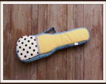 Concert ukulele case - white and black polka dot and  yellow chevron ukulele case (Ready to ship)