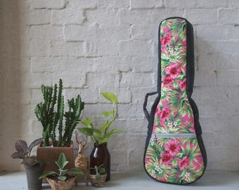 Concierto ukelele caso - rosa Floral ukelele (listo para enviar)