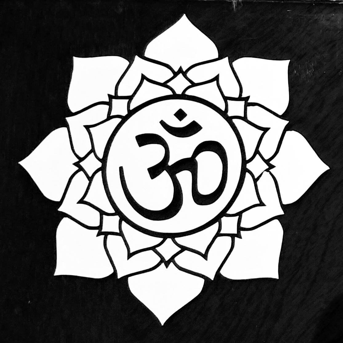 Lotus Flower With Om Symbol Car Window Decal Etsy