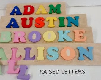 Personalized wooden name puzzle flip and ply