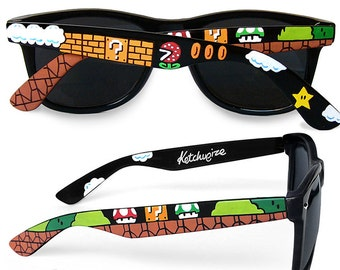 171c5d3792 Mario sunglasses gamer gift for her handpainted wayfarer nerdy gift for  boyfriend unique geeky birthday gift for him men 8bit 1UP video game
