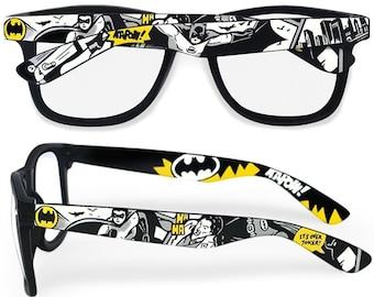 cd9f872bd4 Batman glasses Prescription frames superhero gift for him clear lens mens  accessories Joker geek comic books black and white Wayfarer