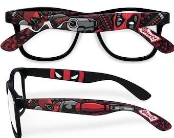 4c55185560 Deadpool glasses custom Wayfarer unique gift for husband geek gift for men  for him superhero Prescription comic book blood clear lens nerd