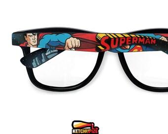 88fb21f585 Superman Wayfarer glasses unique birthday gift for boyfriend geek gift for  her custom superhero Prescription painted comic clear lens nerd