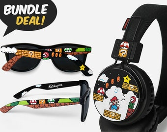 e9fa7a10de3 Mario BUNDLE, sunglasses and headphones, painted geek birthday gift for  girlfriend gift for boyfriend gamer unique headset video game Luigi