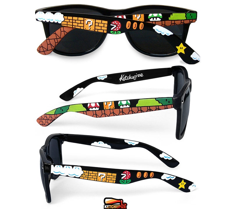 Mario Sunglasses Gamer Gift For Her Handpainted Wayfarer Nerdy