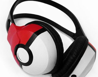 Pokemon gift for her Poke-phones custom headphones birthday gift for him Pokemon go Pokeball video game red sound cool big large earphones