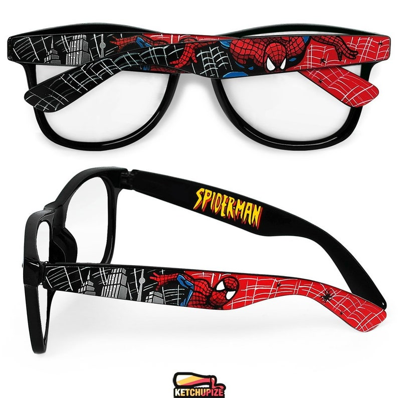 6382adba4aa Spiderman custom glasses gift for him men women red black