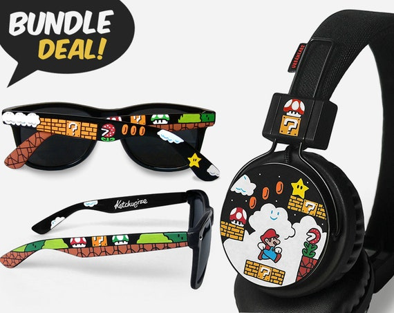 Mario BUNDLE Sunglasses And Headphones Painted Geek