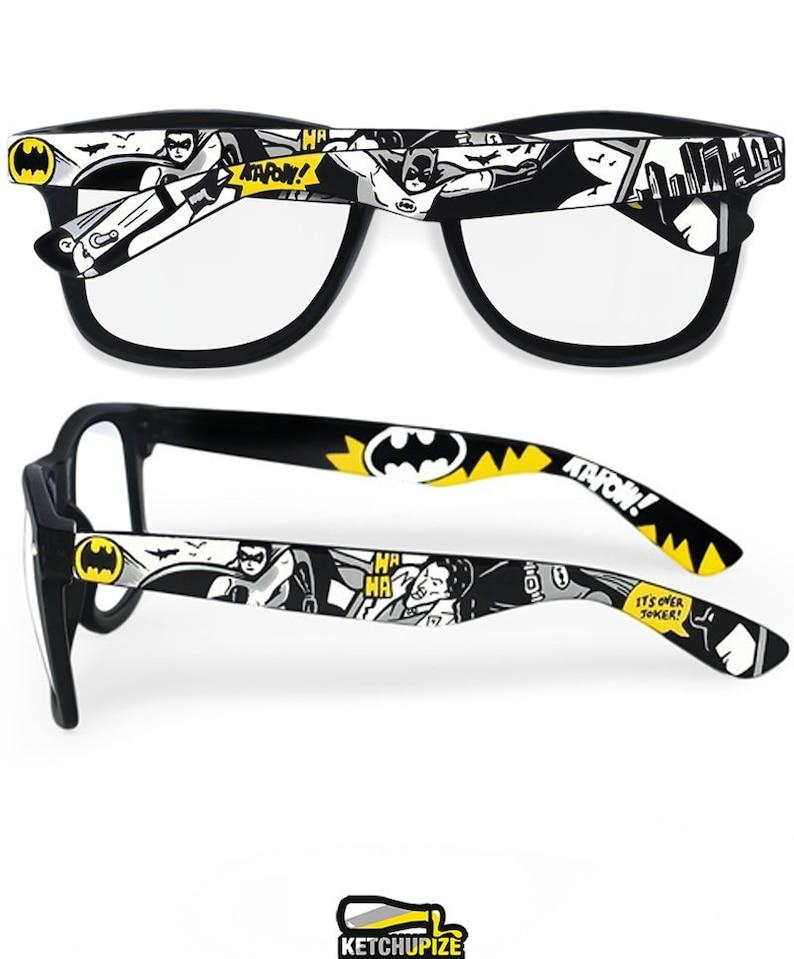86dae72a791 Batman glasses Prescription frames superhero gift for him clear lens mens  accessories Joker geek comic books black and white Wayfarer