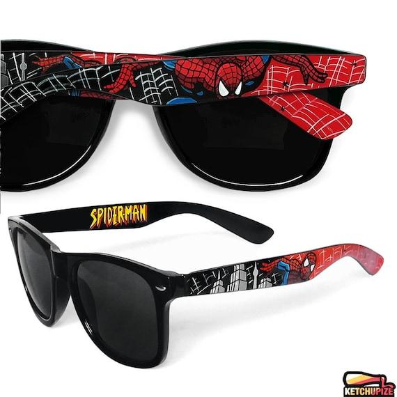 Superhero painted glasses geek husband gift for nerd Wayfarer sunglasses guy gift comic red black mens accessories personalized