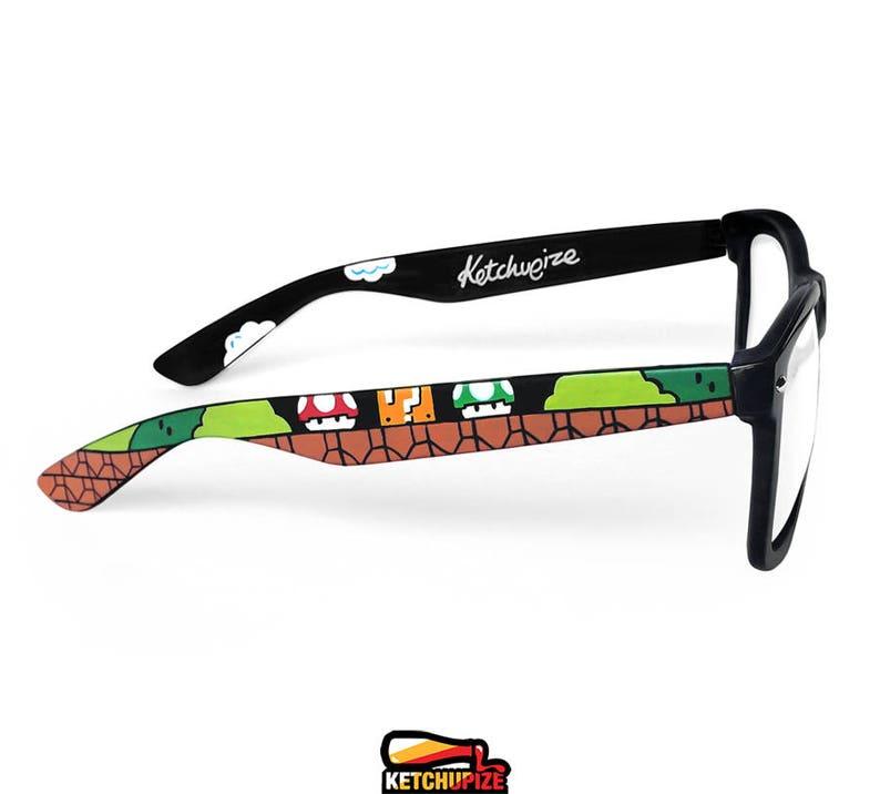 6445b544da Mario glasses unique custom made Wayfarer retro geek gift for