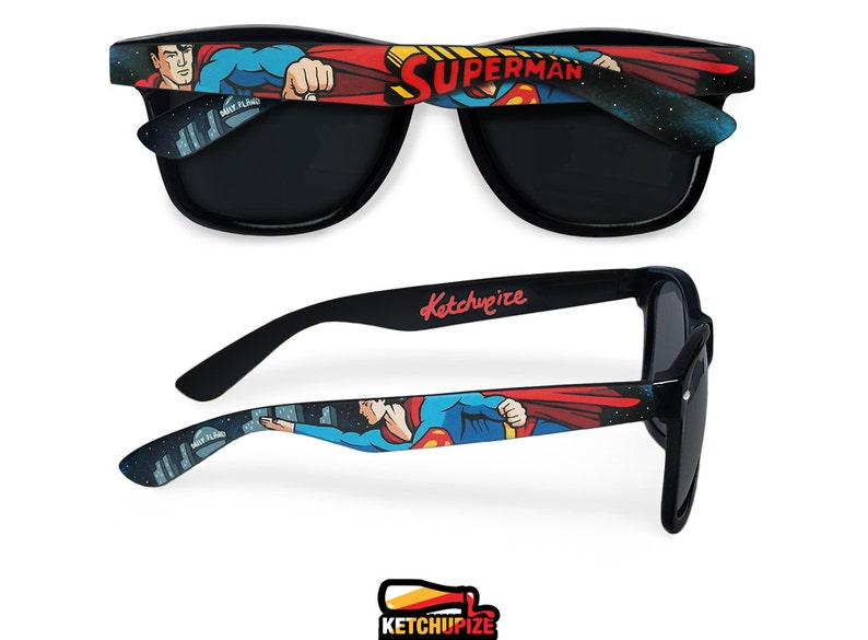 Superman Sunglasses Custom Wayfarer Geek Gift Unique Groomsmen