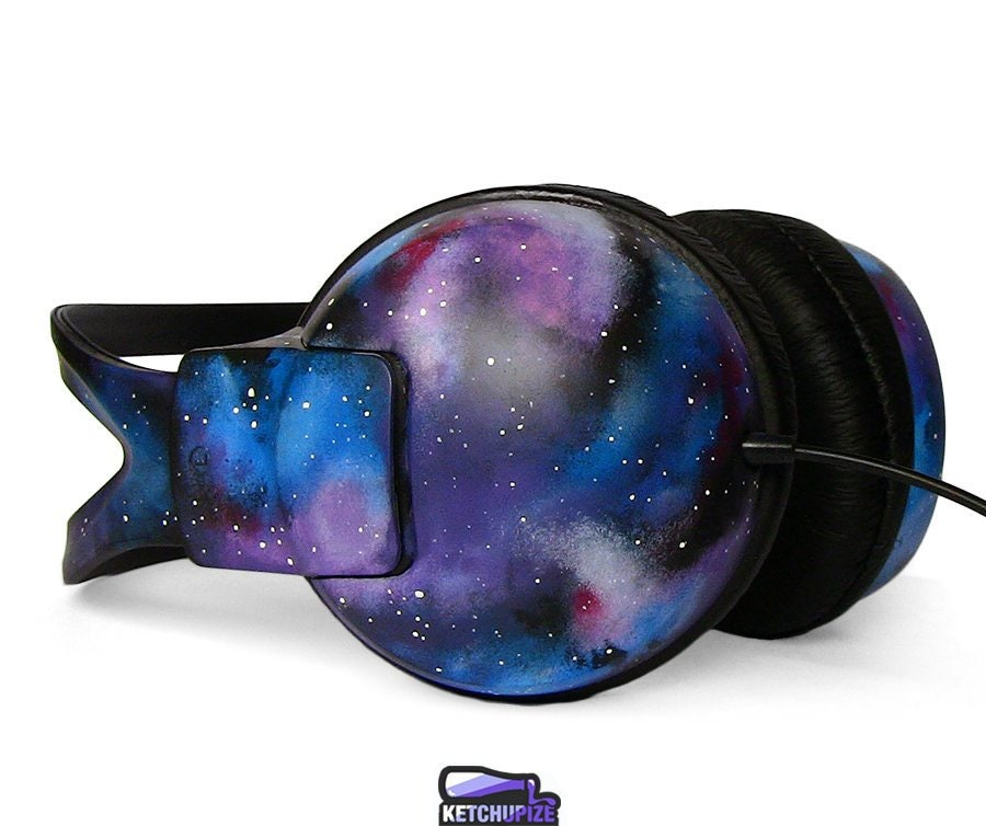 Celestial Galaxy headphones gift for her custom Space Nebula unique birthday gift men women best friend gift astronomy earphones sound blue