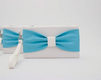 9b48a99df7 Promotional gift ,Ivory blue,bow wristelt clutch,bridesmaid clutch ,wedding  gift,fits Iphone 7 plus