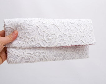 Envelop clutch off white  lace clutch with HIDDEN HANDLE bridesmaid clutch gift,wedding clutch,Evening bag ,red lining