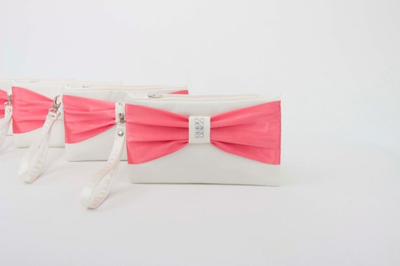 b8d1d579af PROMOTIONAL SALE Ivory pinkish coral bow wristlet | Etsy