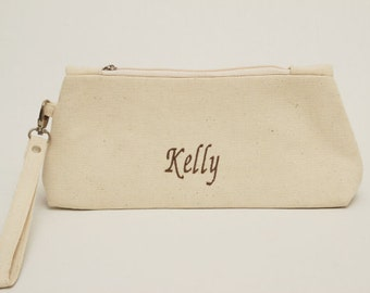 BIG SALE -Bridesmaid clutch  rustic wedding clutch ,zipper pouch,bridesmaid gift. With monogramming