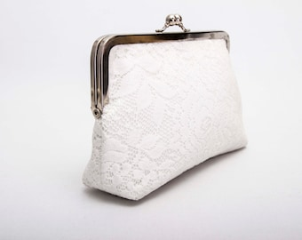 Big Sale - Frame purse clutch with ivory lace ,bridesmaid clutches ,bridal clutch ,bridesmaid gift , WITH lining COLOR OPTION