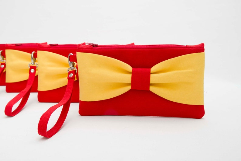 efe9b2e207 Promotional item-Bridesmaid clutches red yellow bow wristlet | Etsy