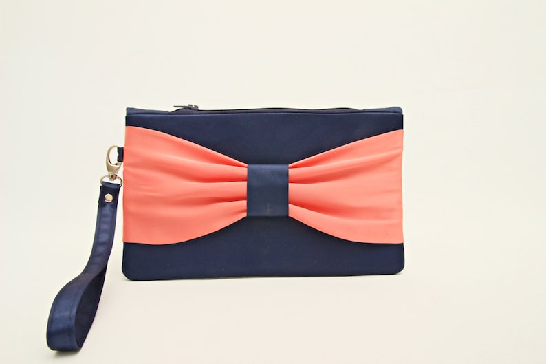 aedb8c712d PROMOTIONAL SALE Navy coral bow wristlet clutchbridesmaid | Etsy