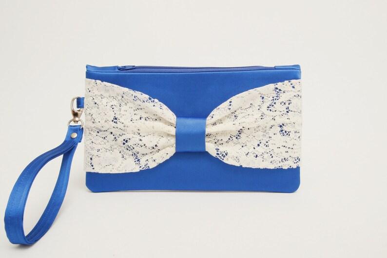 08d4dc6565 Promotional sale Royal blue with ivory lace bow wristelt | Etsy
