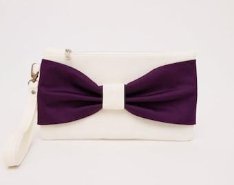 OPENING SALE -Silver grey, purple   bow wristelt wedding clutch ,bridesmaid clutch ,casual clutch ,Evening bag ,zipper pouch .make up bag