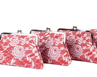 Red bridesmaid clutch frame purse clutch ivory lace bridal clutch ,Set of 1,2,3,4,5,6,7,8,9,10,11,12. with silver frame -COLOR OPTION