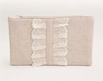 BIG SALE -Bridesmaid clutch  rustic wedding clutch ,zipper pouch,bridesmaid gift