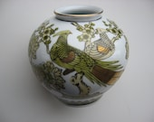 Vintage Gold Imari Vase Hand Painted Peacocks Cherry Blossoms Soft Colors Yellow Green Gold Asian Japan Oriental Collectible Free Shipping