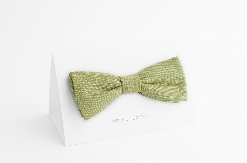 Mellow green bow tie Spring green bow tie Light green bow image 0