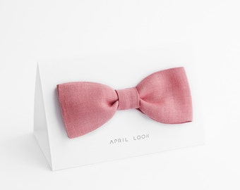 Powder pink bow tie, Powder rose bow tie, Gift bow tie, Solid pink bow tie, Rose wedding ties, Tie and pocket square, Orchid pink bow tie