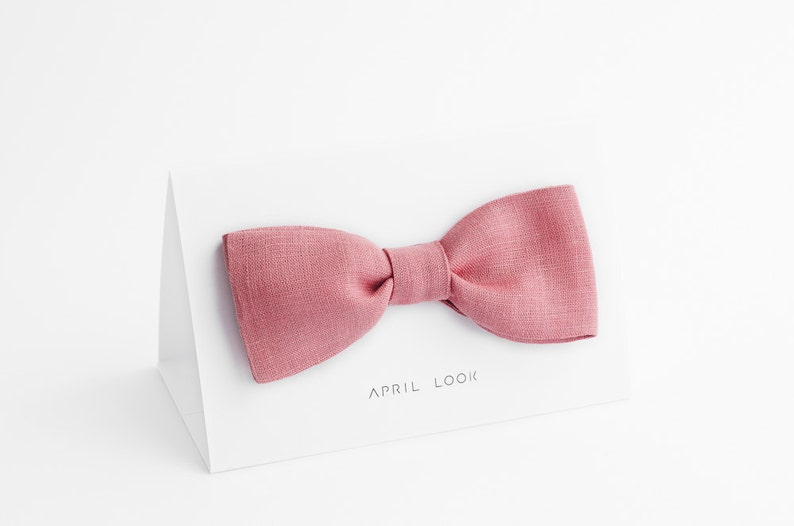 Powder pink bow tie Powder rose bow tie Gift bow tie Solid image 0