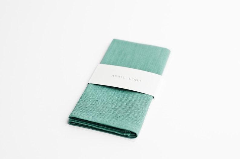 Mint green pocket square Linen pocket square for men image 0