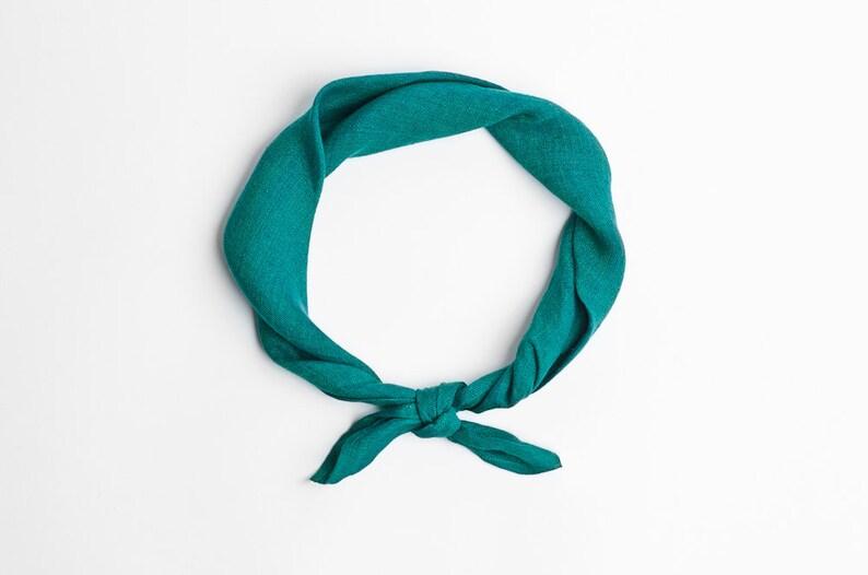 Emerald headband teal green bandana scarf image 0