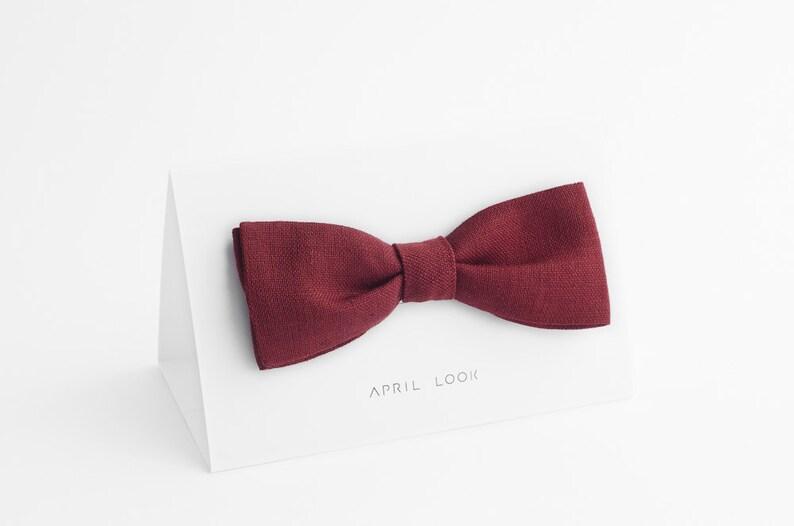 Men's maroon bow tie Brick red bow tie Brown bow tie image 0