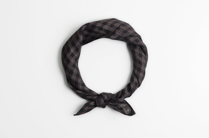 Brown checkered bandana scarf image 0