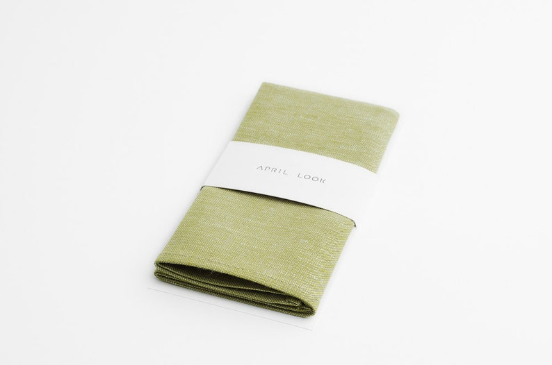 Mellow green pocket square Olive green pocket square Pastel image 0