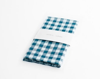 Gingham pocket square, teal checkered handkerchief, Green and white pocket square, Green checks, Linen pocket square, Casual pocket square