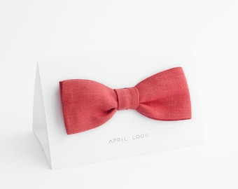 Hot coral bow tie - MADE TO ORDER
