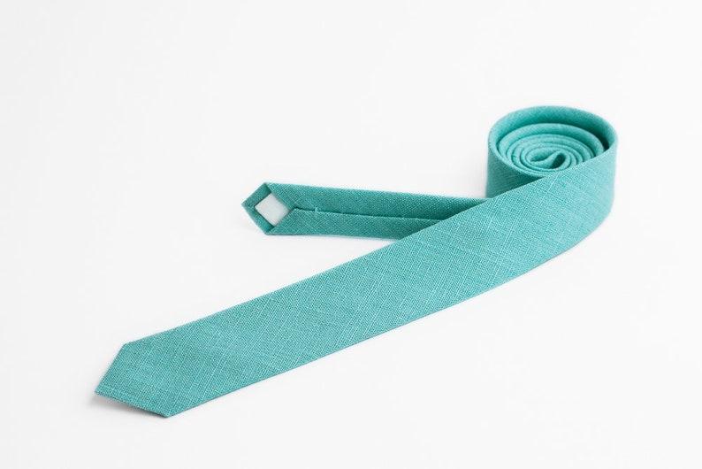 Light aqua skinny tie for men Turquoise tie Groomsmen ties image 0