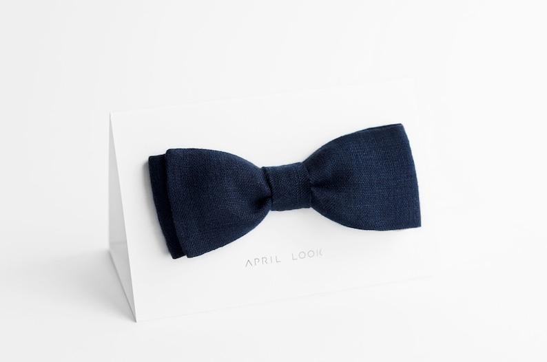 Dark navy blue bow tie Deep blue bow tie Nautical wedding image 0