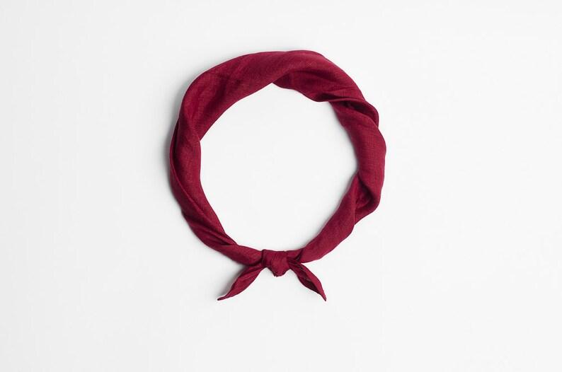 Bandana neck scarf in vivid burgundy image 0