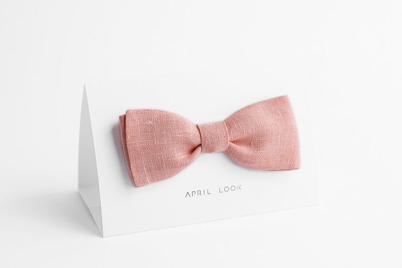 Light pink bow tie Baby pink bow tie Groomsmen bow tie Pale image 0