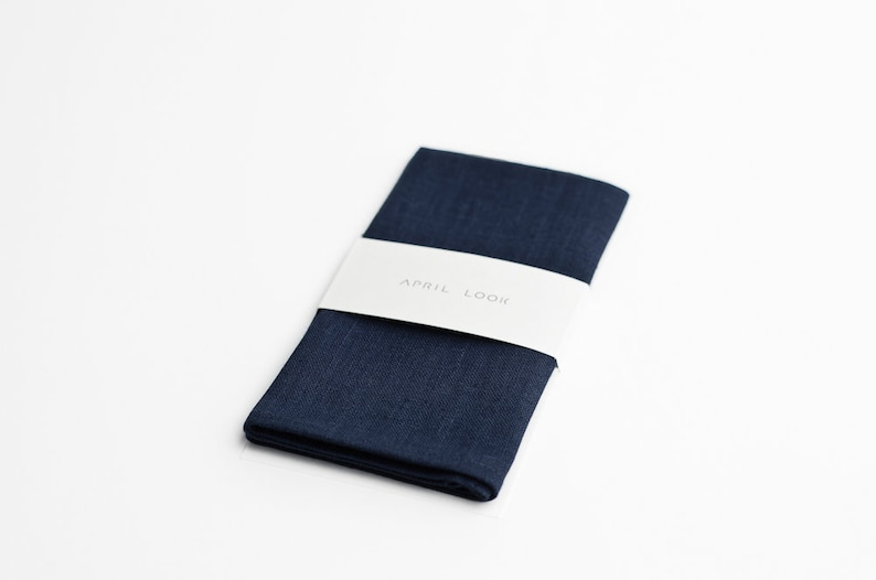 Dark navy blue pocket square Marine blue pocket square Navy image 0