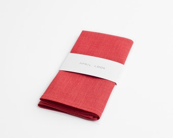 Hot coral pocket square - MADE TO ORDER