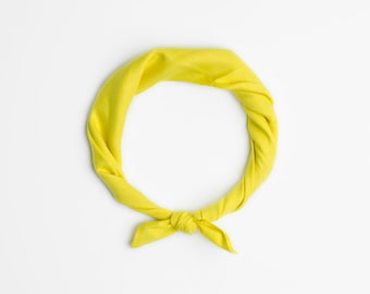 Yellow bandana scarf, Summer headband, Citrus yellow bandana