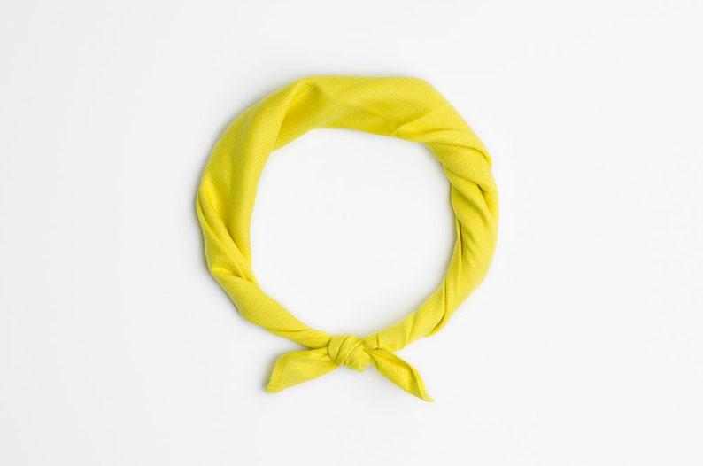 Yellow bandana scarf Summer headband Citrus yellow bandana image 0