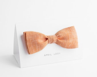 Chambray peach bow tie, Coral bow tie, Salmon bow tie, Orange bow tie, Amber bow tie, Pumpkin bow tie, Peach wedding ties and pocket squares